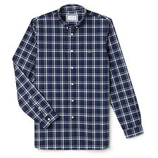 Image of Lacoste NAVY BLUE MEN'S SLIM FIT WIDE CHECK SHIRT