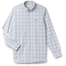 Image of Lacoste PHOENIX BLUE MEN'S SLIM FIT WIDE CHECK SHIRT