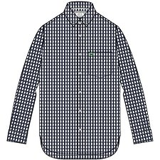 Image of Lacoste NAVY BLUE/WHITE REG FIT GINGHAM SHIRT