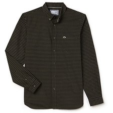 Image of Lacoste SAFARI/BLACK MEN'S REGULAR FIT MINI CHECK GINGHAM SHIRT