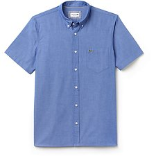 Image of Lacoste ROYAL/WHITE MEN'S REGULAR FIT COTTON CHAMBRAY SHIRT