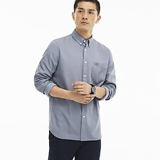 Image of Lacoste MILL BLUE/WHITE MEN'S REGULAR FIT POLKA DOT SHIRT