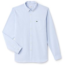 Image of Lacoste LAGOON/WHITE MEN'S REGULAR FIT COTTON OXFORD SHIRT