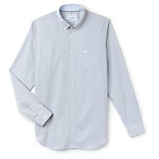 Image of Lacoste MARINO/WHITE MEN'S TEXTURED POPLIN SHIRT