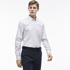 Image of Lacoste MILL BLUE/WHITE REG FIT MINI STRIPE SHIRT