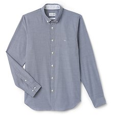 Image of Lacoste NAVY BLUE/WHITE MEN'S SLIM FIT STRETCH COTTON SHIRT