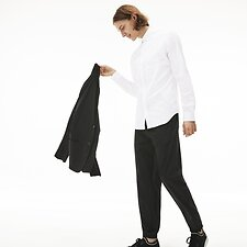 Image of Lacoste WHITE MEN'S SLIM FIT STRETCH POPLIN SHIRT
