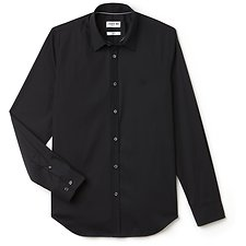 Image of Lacoste BLACK MEN'S SLIM FIT STRETCH POPLIN SHIRT