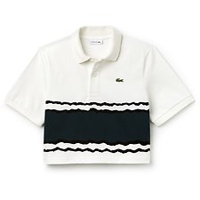 Image of Lacoste FLOUR/BEECHE WOMEN'S FASHION SHOW CROPPED STRIPE POLO