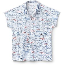 Image of Lacoste WHITE WOMEN'S PRINTED CAP SLEEVE POLO