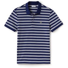 Image of Lacoste OCEAN/FLOUR MEN'S REGULAR FIT JERSEY STRIPE POLO