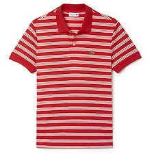 Image of Lacoste GRENADINE/FLOUR REGULAR FIT JERSEY STRIPE POLO