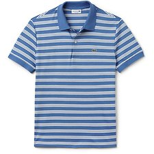 Image of Lacoste THERMAL BLUE/FLOUR MEN'S REGULAR FIT JERSEY STRIPE POLO