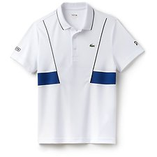 Image of Lacoste BLACK/MARINO MEN'S NOVAK DJOKOVIC ULTRA DRY PANEL POLO