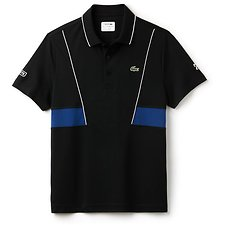 Image of Lacoste WHITE/MARINO MEN'S NOVAK DJOKOVIC ULTRA DRY PANEL POLO