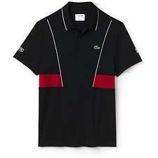 Image of Lacoste BLACK/WHITE-RED MEN'S NOVAK DJOKOVIC ULTRA DRY PANEL POLO