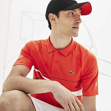 Image of Lacoste MEXICO RED/BLACK-WHITE MEN'S NOVAK DJOKOVIC STRETCH POLO
