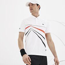 Image of Lacoste WHITE/BLACK-MEXICO RED MEN'S NOVAK DJOKOVIC STRETCH POLO