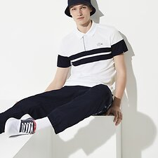 Image of Lacoste WHITE/NAVY BLUE-WHITE MEN'S FRENCH OPEN STRIPED POLO