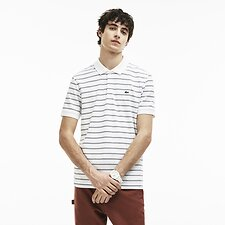 Image of Lacoste WHITE/NAVY BLUE-WHITE MEN'S INTERLOCK STRIPE POLO