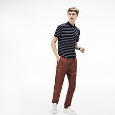 Image of Lacoste NAVY BLUE/WHITE-BORDEAUX MEN'S INTERLOCK STRIPE POLO