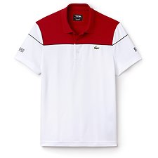 Image of Lacoste RED/WHITE-BL MEN'S ULTRA DRY COLOUR BLOCK POLO