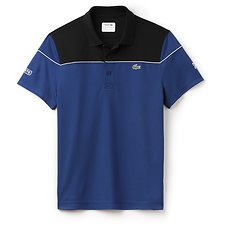 Image of Lacoste BLACK/MARINO MEN'S ULTRA DRY COLOUR BLOCK POLO