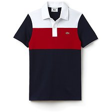 Image of Lacoste NAVY BLUE/RED-WHITE UNISEX LIMITED EDITION 85TH ANNIVERSARY SLIM COLOUR BLOCK POLO