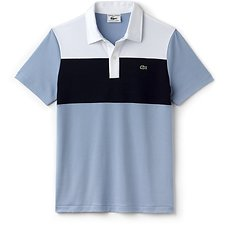 Image of Lacoste DRAGONFLY/NAVY BLUE-WHITE UNISEX LIMITED EDITION 85TH ANNIVERSARY SLIM COLOUR BLOCK POLO
