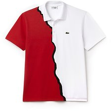 Image of Lacoste WHITE/RED/BLACK UNISEX LIMITED EDITION 85TH ANNIVERSARY PRINTED POLO
