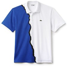Image of Lacoste WHITE/ELECTRIC/BLACK UNISEX LIMITED EDITION 85TH ANNIVERSARY PRINTED POLO