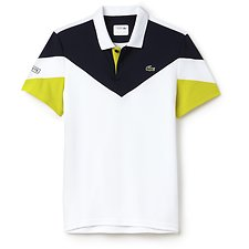 Image of Lacoste WHITE/NAVY BLUE-SODA YELLOW MEN'S COLOUR BLOCK ULTRA DRY TECH POLO