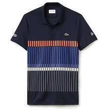 Image of Lacoste BLUE/MEXICO RED NOVAK DJOKOVIC NET PRINT SPORT POLO