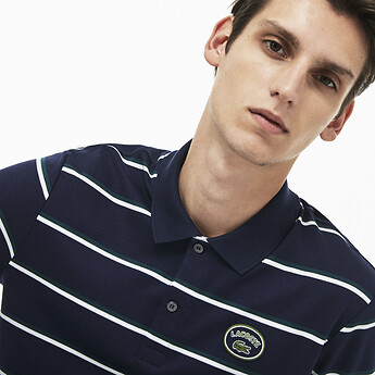 Image of Lacoste  MEN'S STRIPE INTERLOCK POLO WITH BADGE