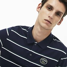 Image of Lacoste NAVY BLUE/FLOUR-ACONIT MEN'S STRIPE INTERLOCK POLO WITH BADGE