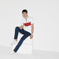 Image of Lacoste WHITE/POMEGRENATE-INKWELL MEN'S LACOSTE SPORT CHEST STRIPE POLO