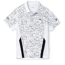 Image of Lacoste WHITE/BLACK MEN'S NOVAK DJOKOVIC PRINTED PERFORMANCE POLO