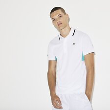 Image of Lacoste WHITE/ARMOUR-PAPEETE-MENT MEN'S COLOUR BLOCK PERFORMANCE POLO