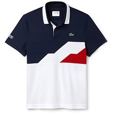 Image of Lacoste NAVY BLUE/WHITE-LIGHTHOUS MEN'S DISCONNECTED STRIPE TECHNICAL POLO