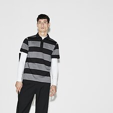 Image of Lacoste BLACK/LEAD GREY-WHITE MEN'S RUGBY STRIPE GOLF POLO