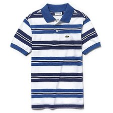 Image of Lacoste ELYSEE BLUE/WHITE-MARITIM KIDS' STRIPE COTTON JERSEY POLO