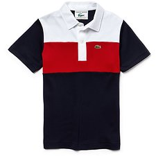 Image of Lacoste NAVY BLUE/RED-WHITE KIDS' 85TH ANNIVERSARY LIMITED EDITION COLOUR BLOCK POLO