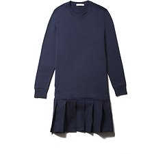 Image of Lacoste NAVY BLUE PLEATED SWEATSHIRT DRESS
