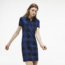 Image of Lacoste INKWELL/MERIDIAN BLUE WOMEN'S TARTAN POLO DRESS