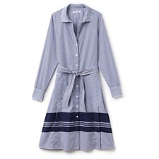 Picture of LONG SLEEVE STRIPE BELTED SHIRT DRESS