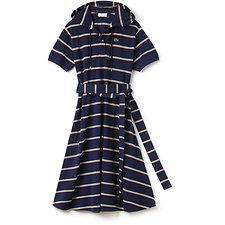 Image of Lacoste AQUATIC/MULTICO WOMEN'S STRIPE DRESS WITH HOOD