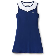 Image of Lacoste MARINO/WHITE-MARINO-MARIN WOMEN'S SLEEVELESS RACEBACK TENNIS DRESS