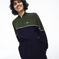 Image of Lacoste CAPER BUSH/NAVY BLUE-FLOU WOMEN'S TWO TONE BLOCK ROUND COLLAR DRESS