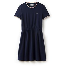 Image of Lacoste NAVY BLUE WOMEN'S 85TH ANNIVERSARY LIMITED EDITION RETRO SCOOP NECK DRESS