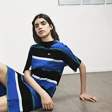 Image of Lacoste BLACK/MULTICO WOMEN'S LACOSTE LIVE X OPENING CEREMONY POLO SHIRT COLLAR DRESS